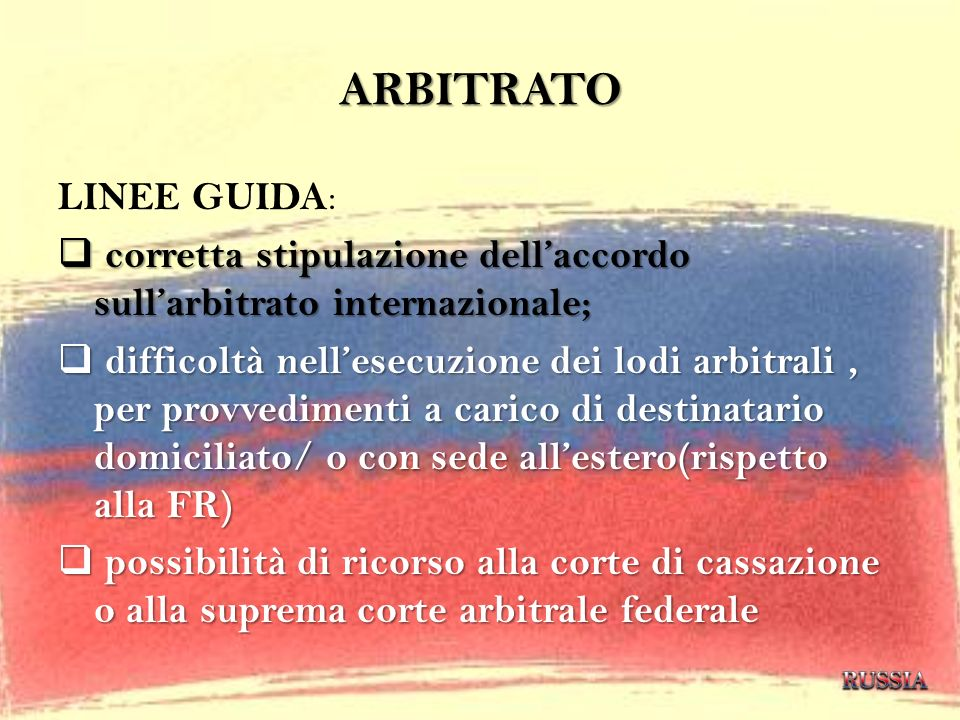 ARBITRATO LINEE GUIDA: