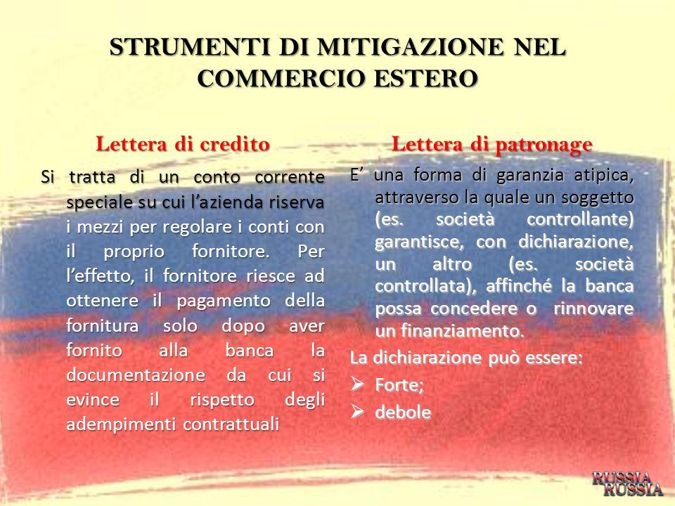 STRUMENTI DI MITIGAZIONE NEL COMMERCIO ESTERO