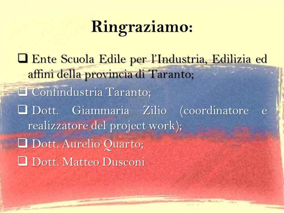 Ringraziamo: Ente Scuola Edile per l'Industria, Edilizia ed affini della provincia di Taranto; Confindustria Taranto;