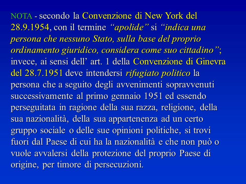 NOTA - secondo la Convenzione di New York del 28. 9