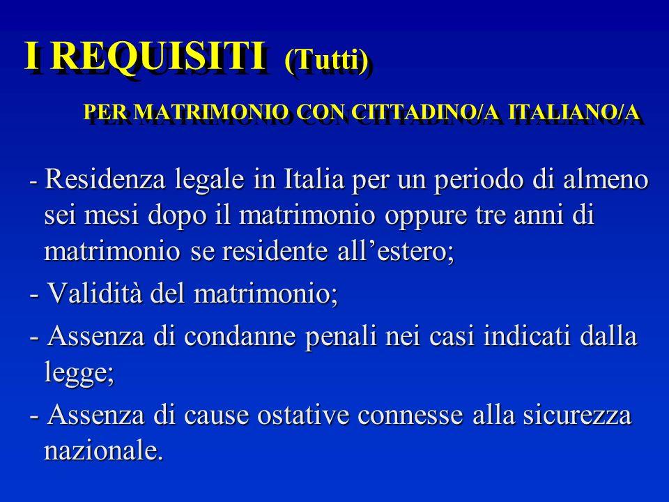 I REQUISITI (Tutti) PER MATRIMONIO CON CITTADINO/A ITALIANO/A