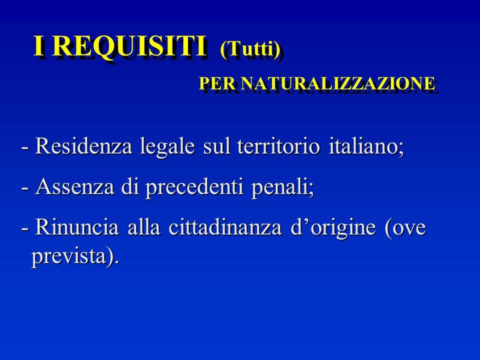 I REQUISITI (Tutti) PER NATURALIZZAZIONE