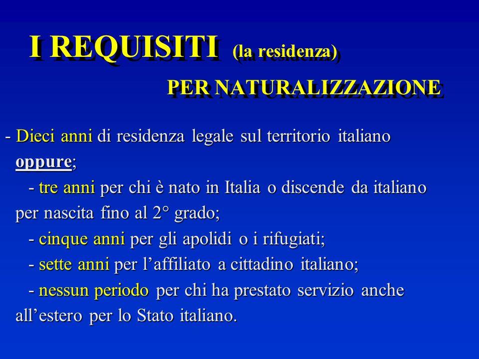 I REQUISITI (la residenza) PER NATURALIZZAZIONE