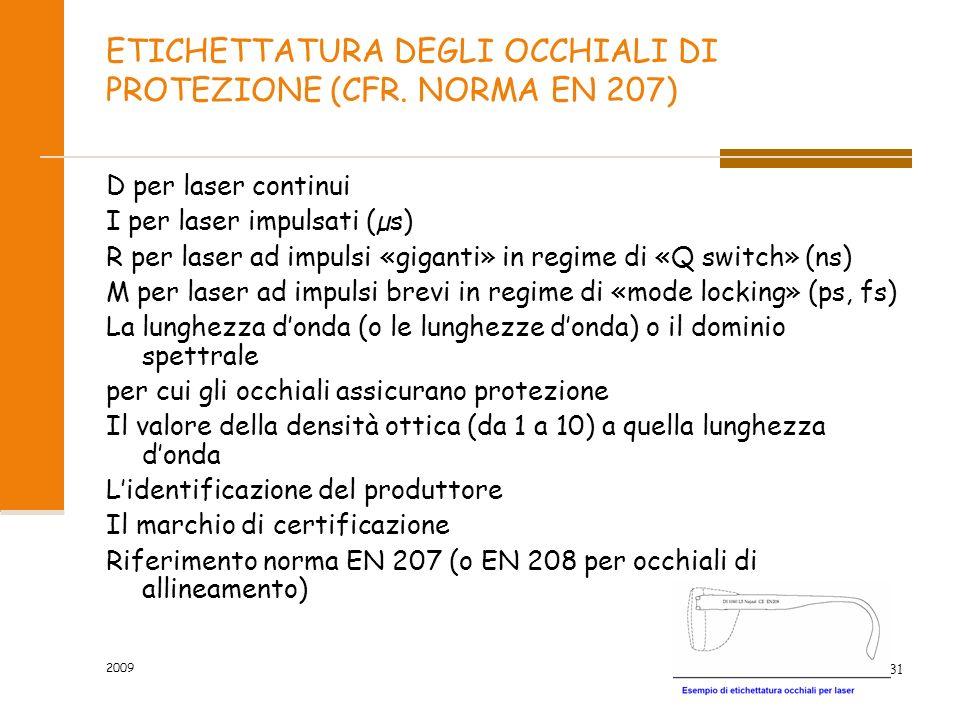 ETICHETTATURA DEGLI OCCHIALI DI PROTEZIONE (CFR. NORMA EN 207)