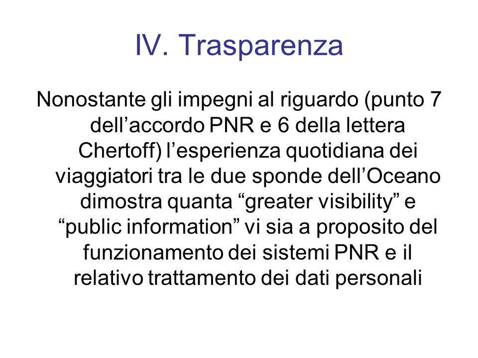 IV. Trasparenza