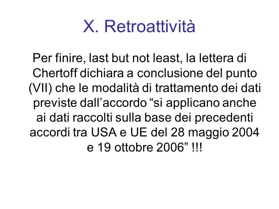 X. Retroattività