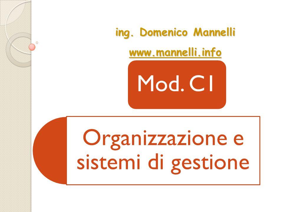 Organizzazione e sistemi di gestione