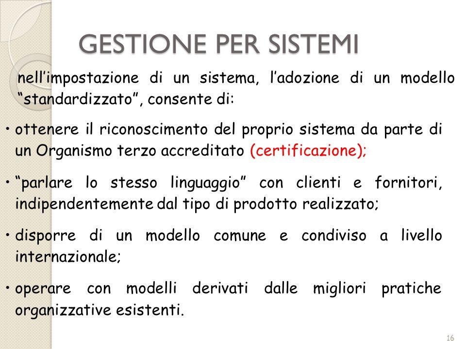 GESTIONE PER SISTEMInell'impostazione di un sistema, l'adozione di un modello standardizzato , consente di: