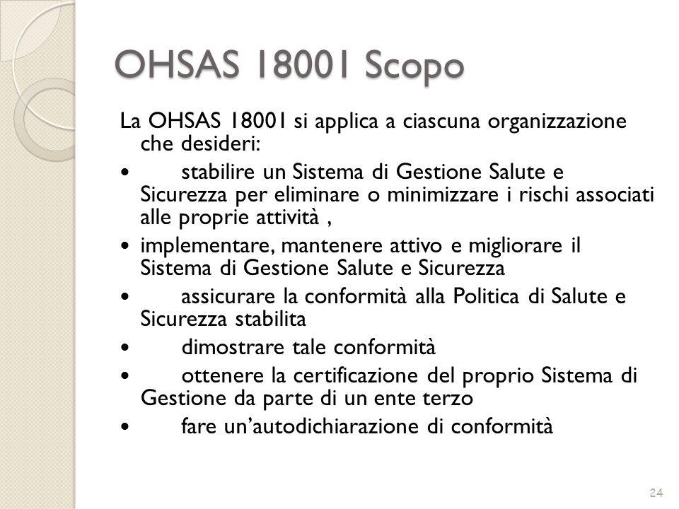 OHSAS 18001 ScopoLa OHSAS 18001 si applica a ciascuna organizzazione che desideri: