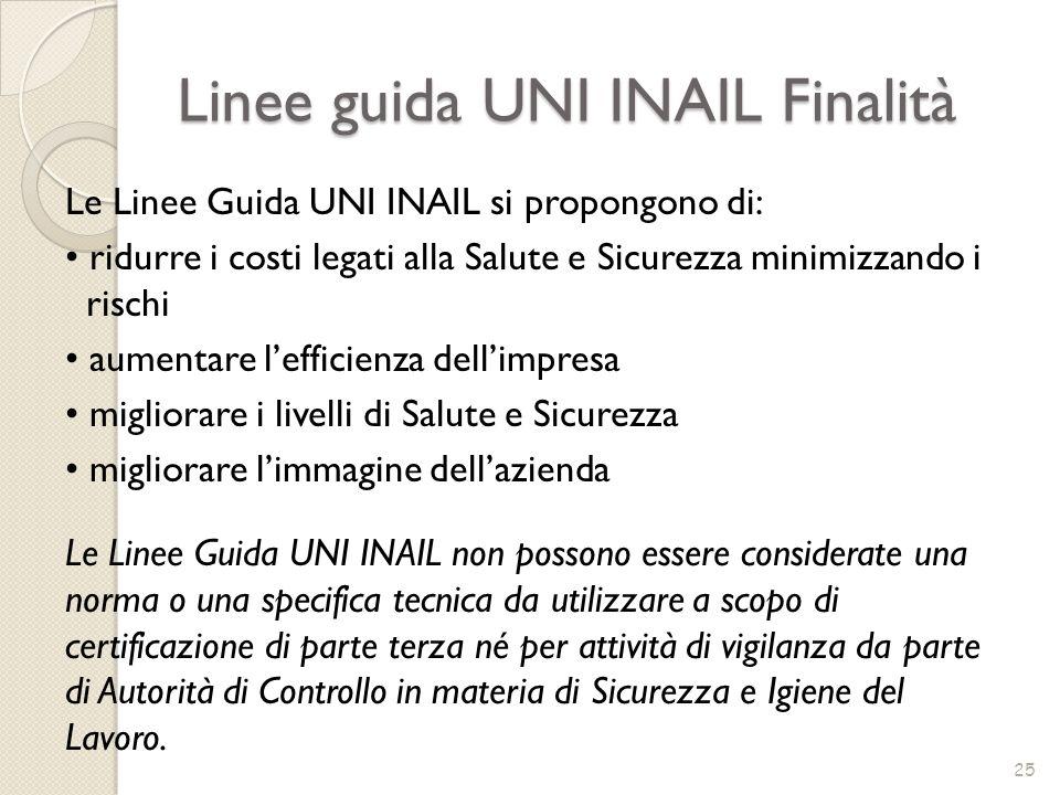 Linee guida UNI INAIL Finalità