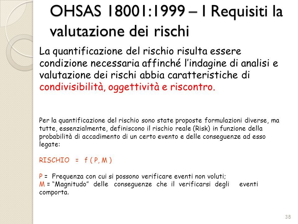 OHSAS 18001:1999 – I Requisiti la valutazione dei rischi