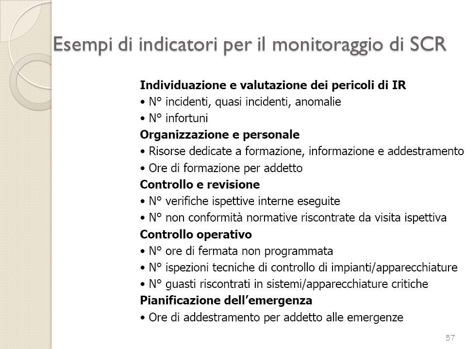 Esempi di indicatori per il monitoraggio di SCR