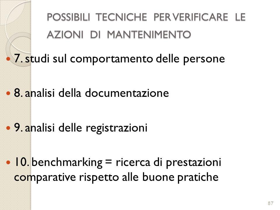 POSSIBILI TECNICHE PER VERIFICARE LE AZIONI DI MANTENIMENTO