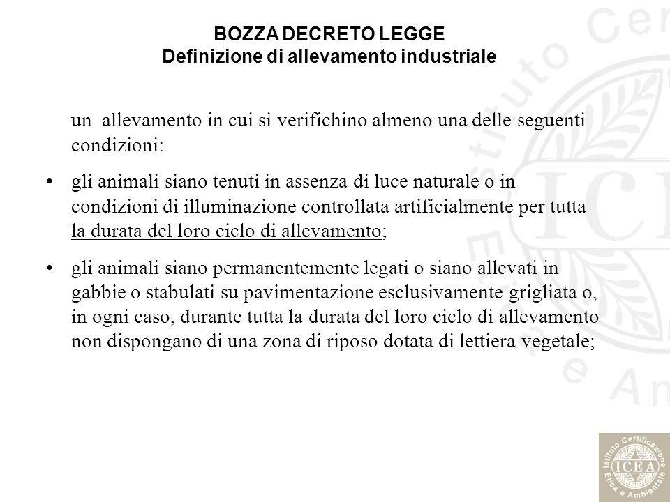BOZZA DECRETO LEGGE Definizione di allevamento industriale