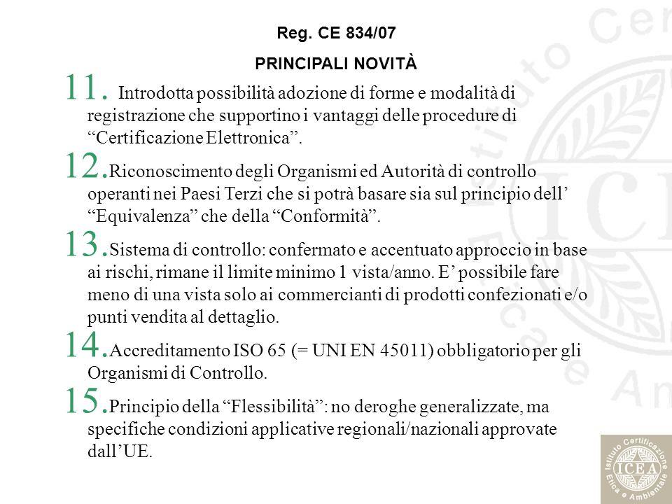 Reg. CE 834/07 PRINCIPALI NOVITÀ.