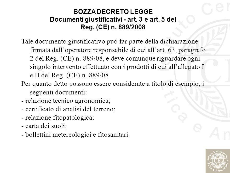 - relazione tecnico agronomica; - certificato di analisi del terreno;