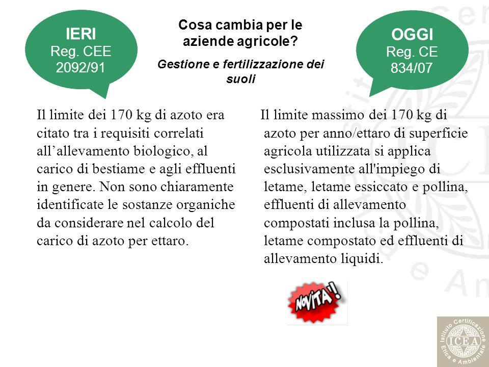 IERI Reg. CEE 2092/91. OGGI. Reg. CE 834/07. Cosa cambia per le aziende agricole Gestione e fertilizzazione dei suoli.