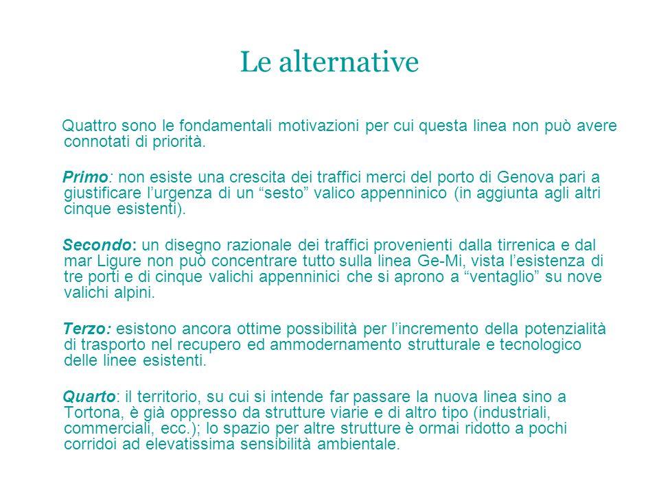 Le alternativeQuattro sono le fondamentali motivazioni per cui questa linea non può avere connotati di priorità.