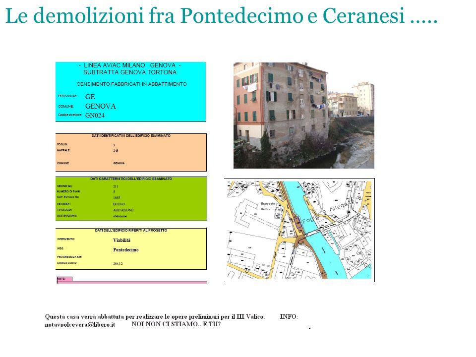 Le demolizioni fra Pontedecimo e Ceranesi …..