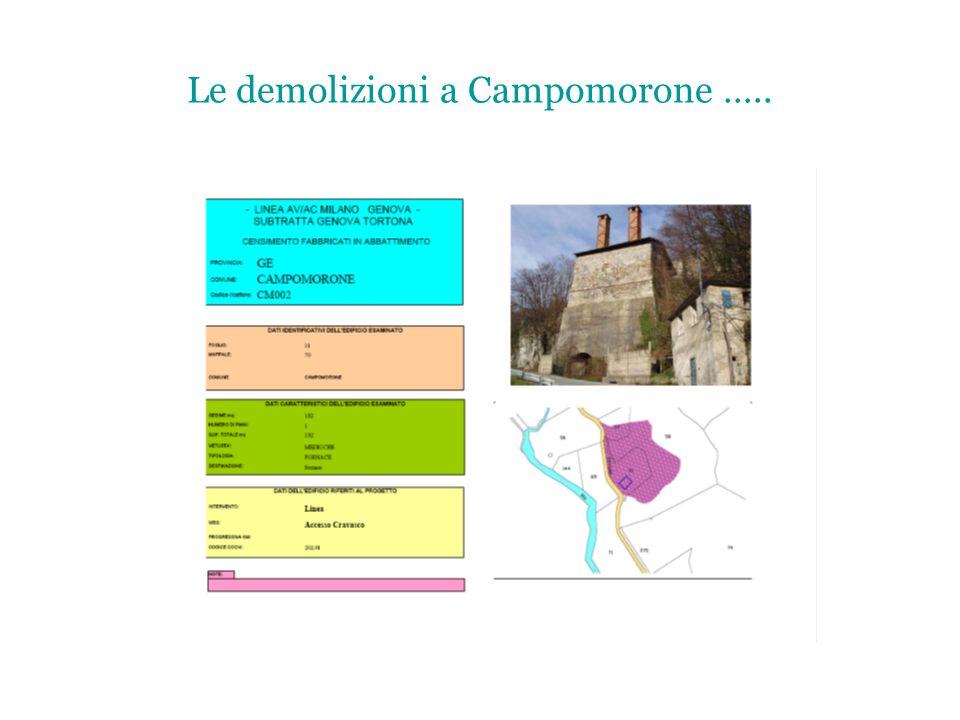 Le demolizioni a Campomorone …..