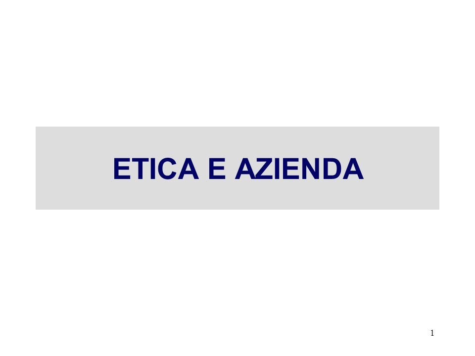 ETICA E AZIENDA