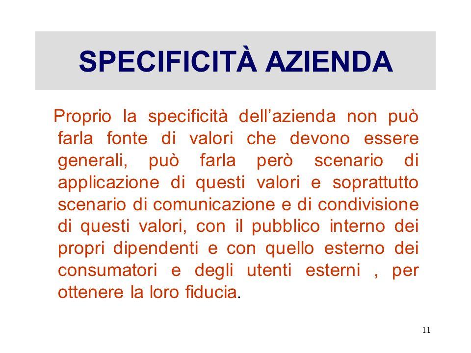 SPECIFICITÀ AZIENDA