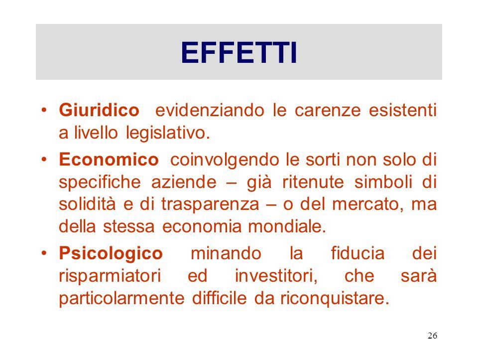 EFFETTI Giuridico evidenziando le carenze esistenti a livello legislativo.