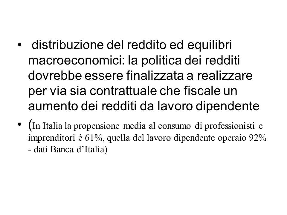 distribuzione del reddito ed equilibri macroeconomici: la politica dei redditi dovrebbe essere finalizzata a realizzare per via sia contrattuale che fiscale un aumento dei redditi da lavoro dipendente