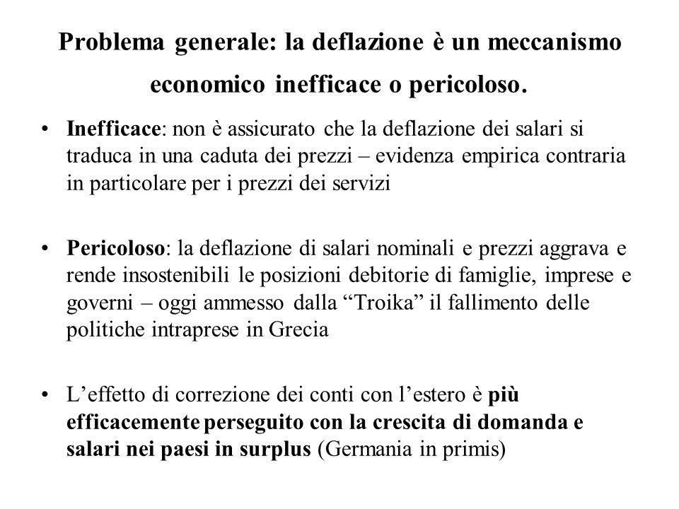 Problema generale: la deflazione è un meccanismo economico inefficace o pericoloso.