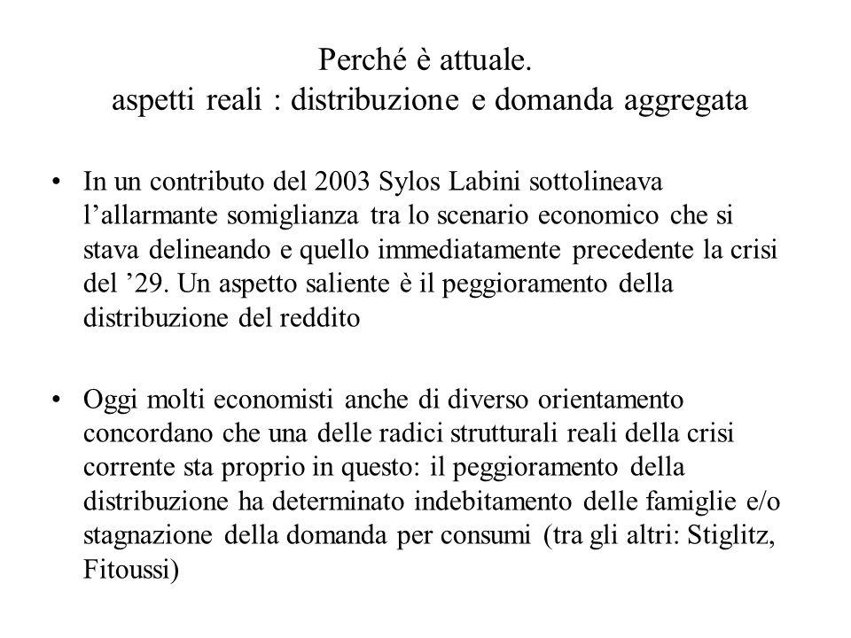 Perché è attuale. aspetti reali : distribuzione e domanda aggregata