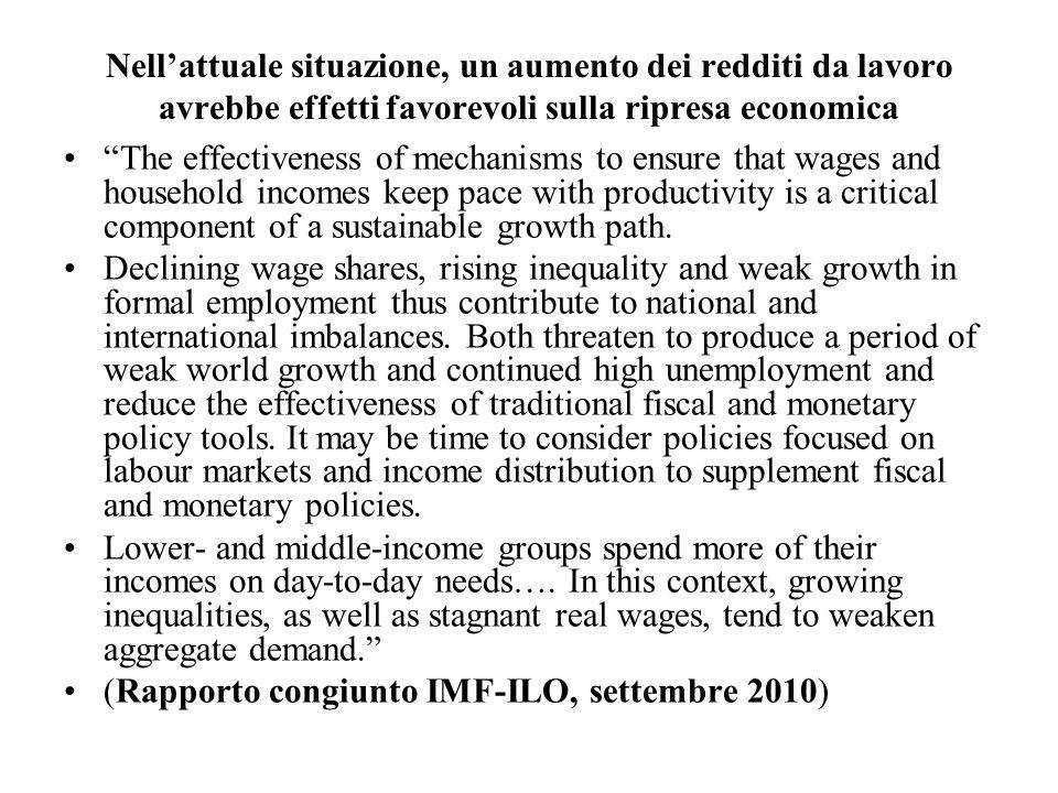 Nell'attuale situazione, un aumento dei redditi da lavoro avrebbe effetti favorevoli sulla ripresa economica
