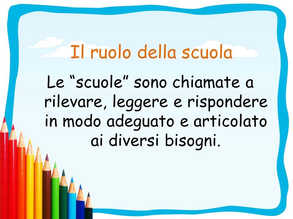 Il ruolo della scuola Le scuole sono chiamate a rilevare, leggere e rispondere in modo adeguato e articolato ai diversi bisogni.