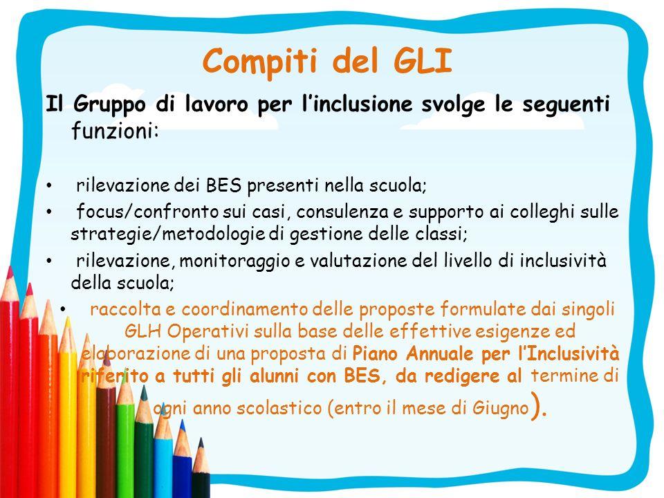 Compiti del GLI Il Gruppo di lavoro per l'inclusione svolge le seguenti funzioni: rilevazione dei BES presenti nella scuola;