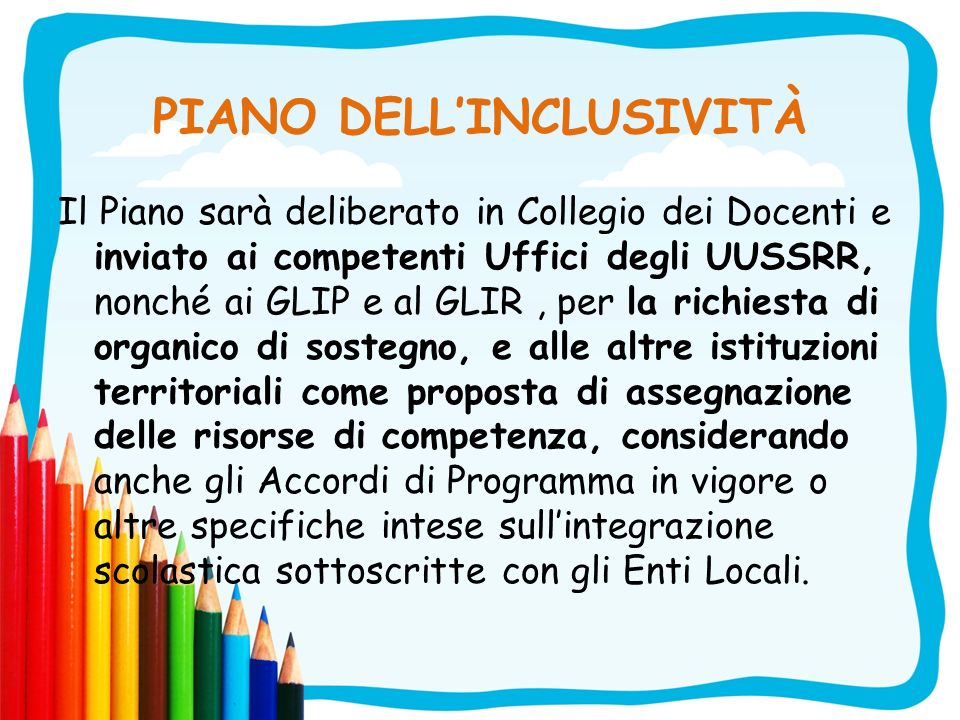 PIANO DELL'INCLUSIVITÀ