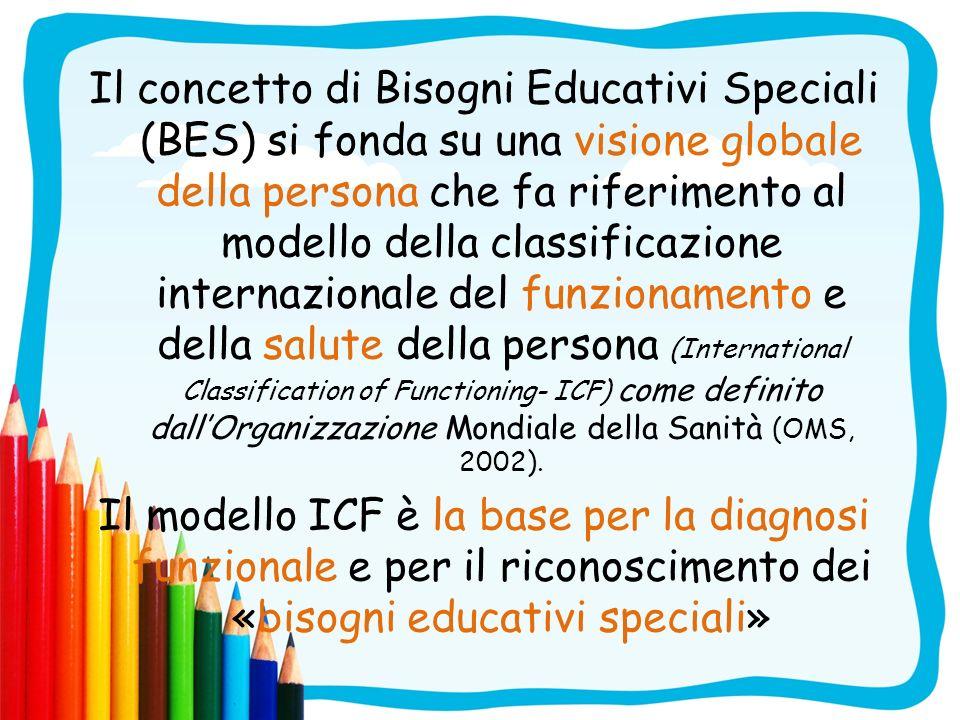 Il concetto di Bisogni Educativi Speciali (BES) si fonda su una visione globale della persona che fa riferimento al modello della classificazione internazionale del funzionamento e della salute della persona (International Classification of Functioning- ICF) come definito dall'Organizzazione Mondiale della Sanità (OMS, 2002).