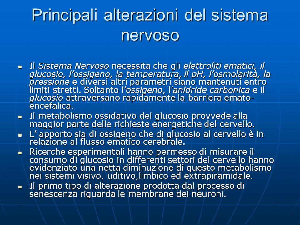 Principali alterazioni del sistema nervoso