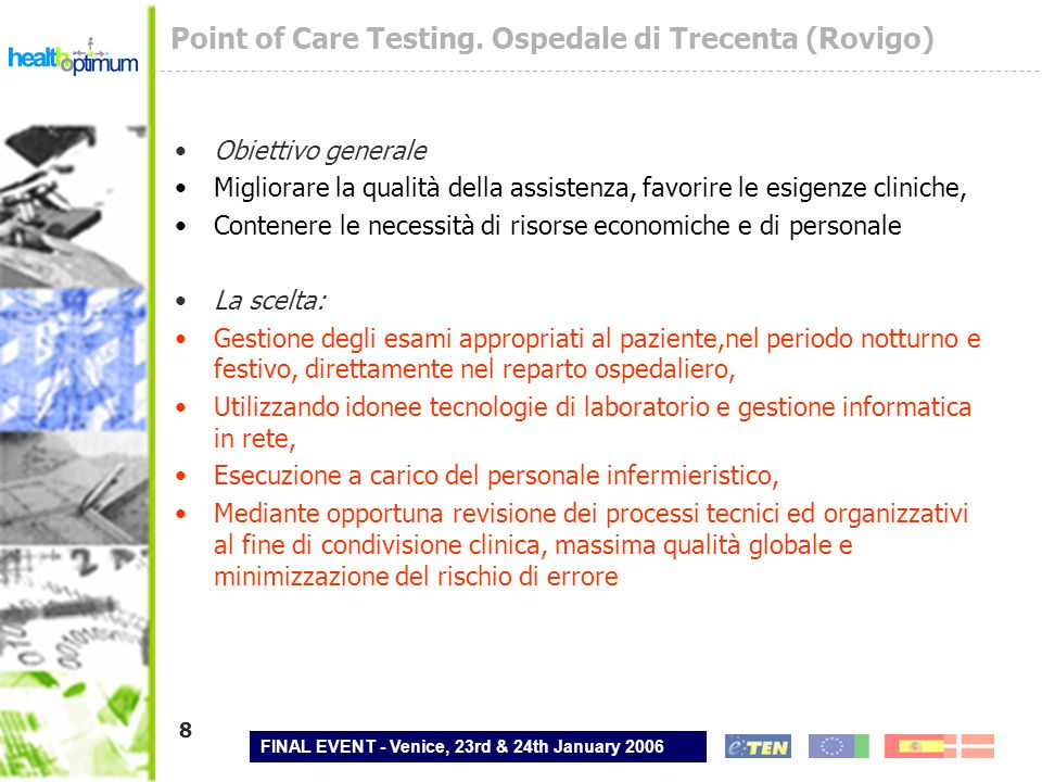 Point of Care Testing. Ospedale di Trecenta (Rovigo)