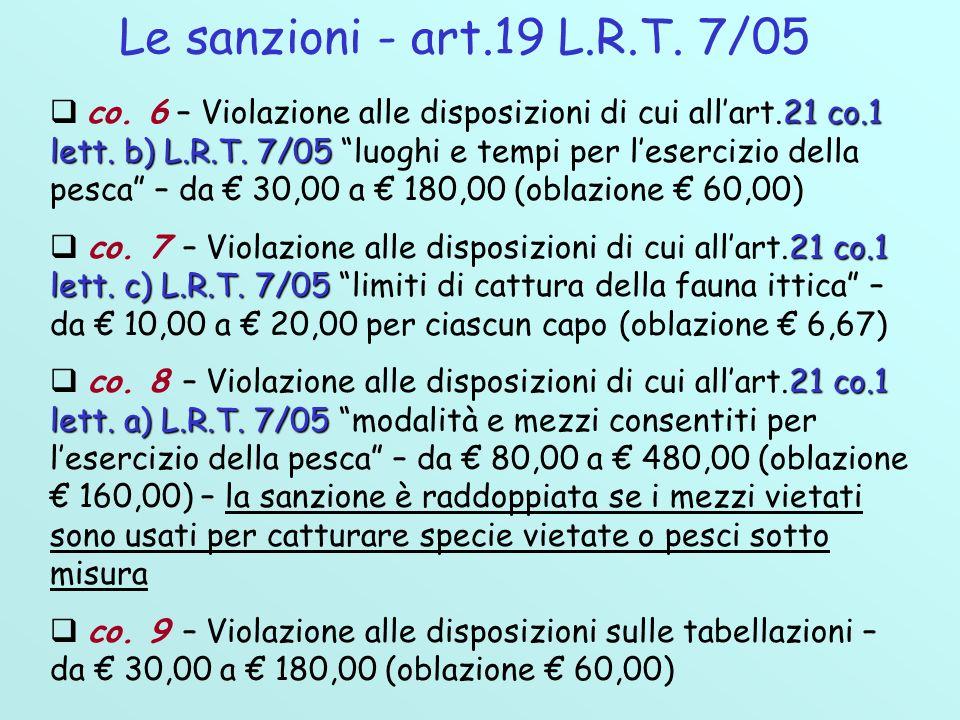 Le sanzioni - art.19 L.R.T. 7/05