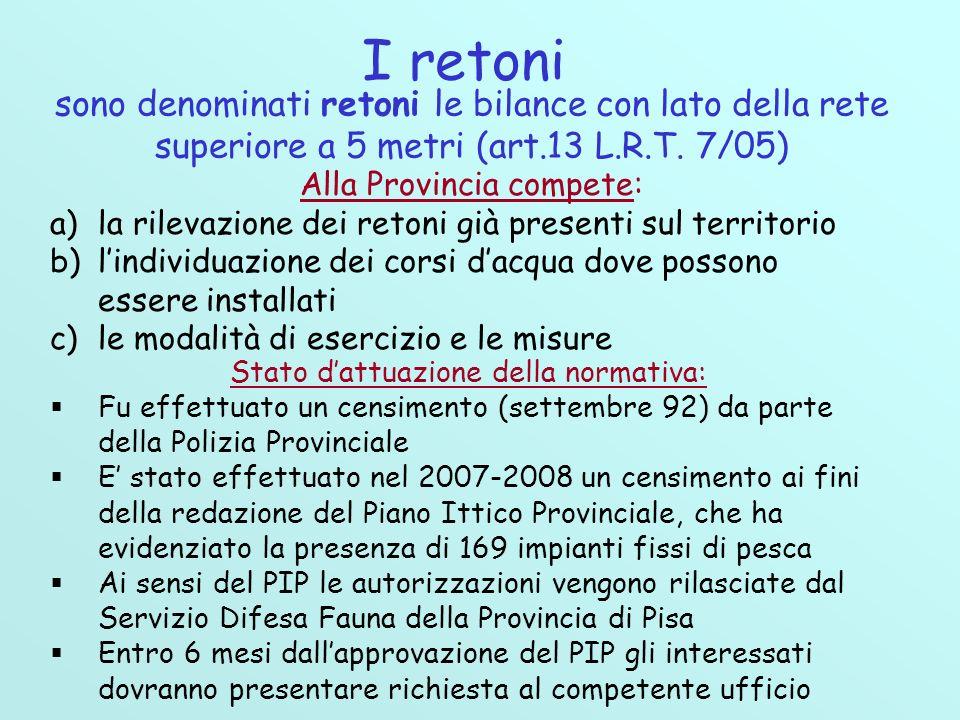 I retoni sono denominati retoni le bilance con lato della rete superiore a 5 metri (art.13 L.R.T. 7/05)