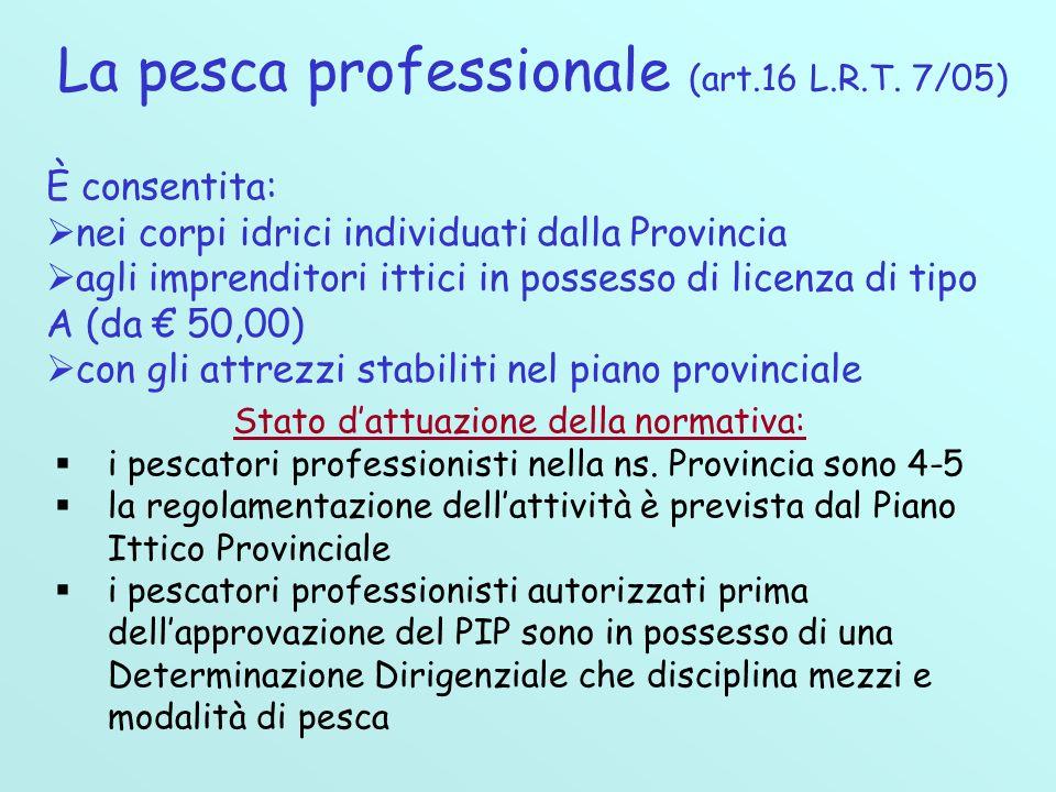 La pesca professionale (art.16 L.R.T. 7/05)