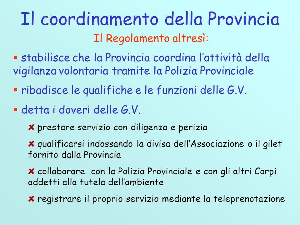 Il coordinamento della Provincia