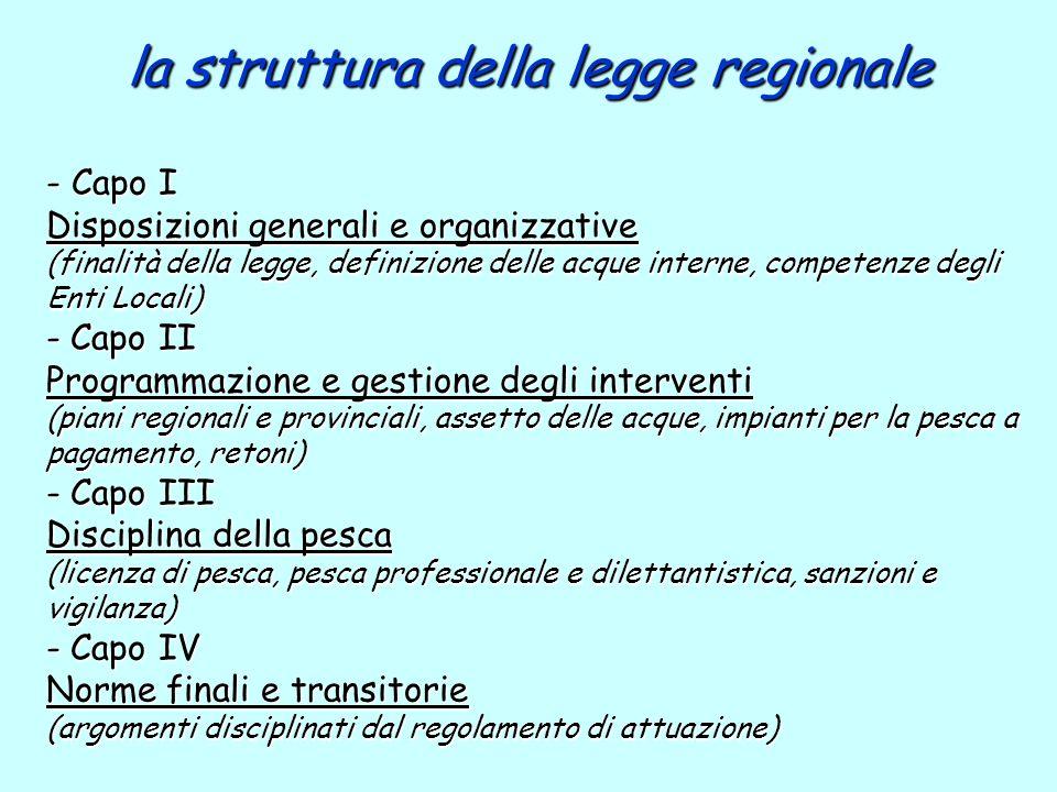 la struttura della legge regionale
