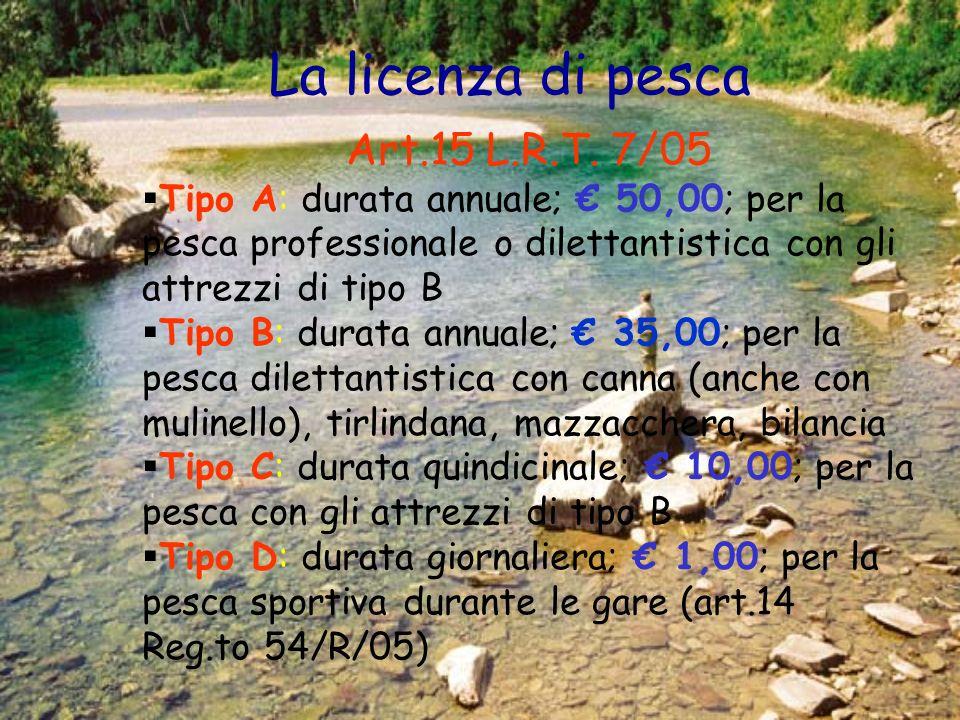 La licenza di pesca Art.15 L.R.T. 7/05