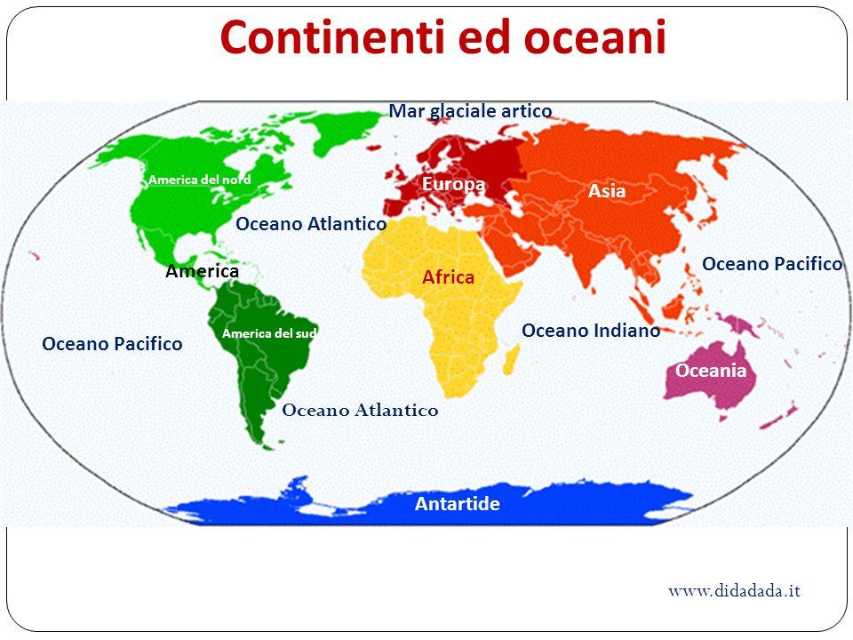 Continenti ed oceani Mar glaciale artico Europa Asia Oceano Atlantico