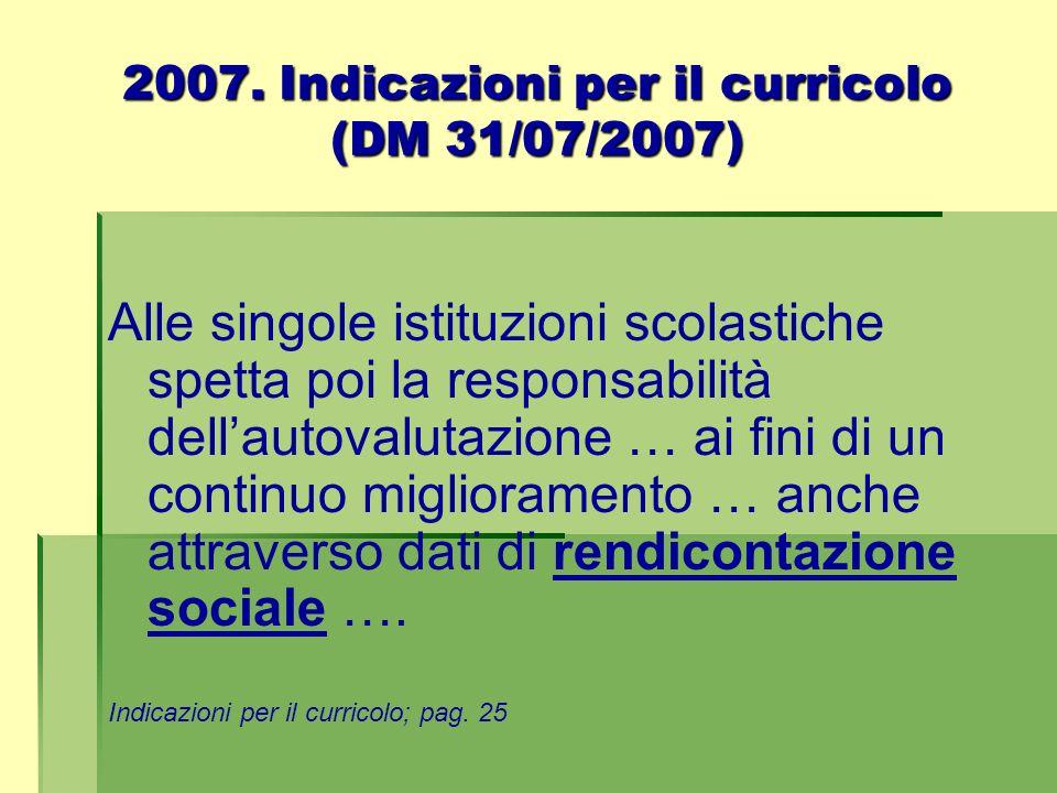 2007. Indicazioni per il curricolo (DM 31/07/2007)