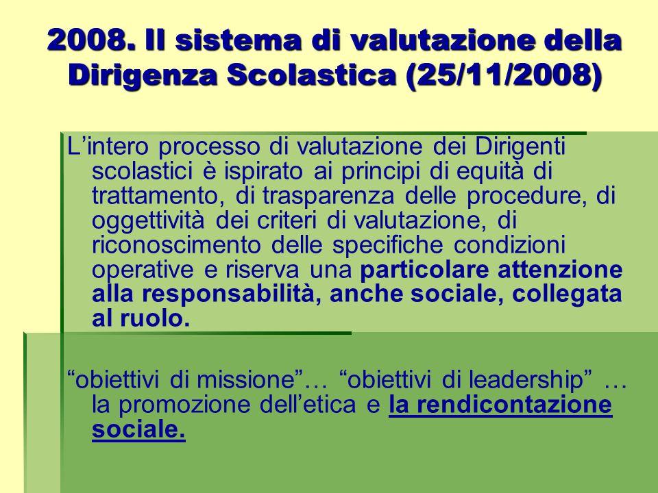 2008. Il sistema di valutazione della Dirigenza Scolastica (25/11/2008)