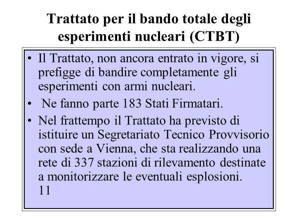 Trattato per il bando totale degli esperimenti nucleari (CTBT)