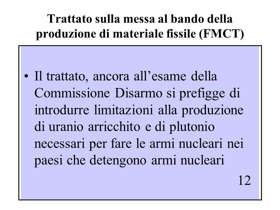 Trattato sulla messa al bando della produzione di materiale fissile (FMCT)