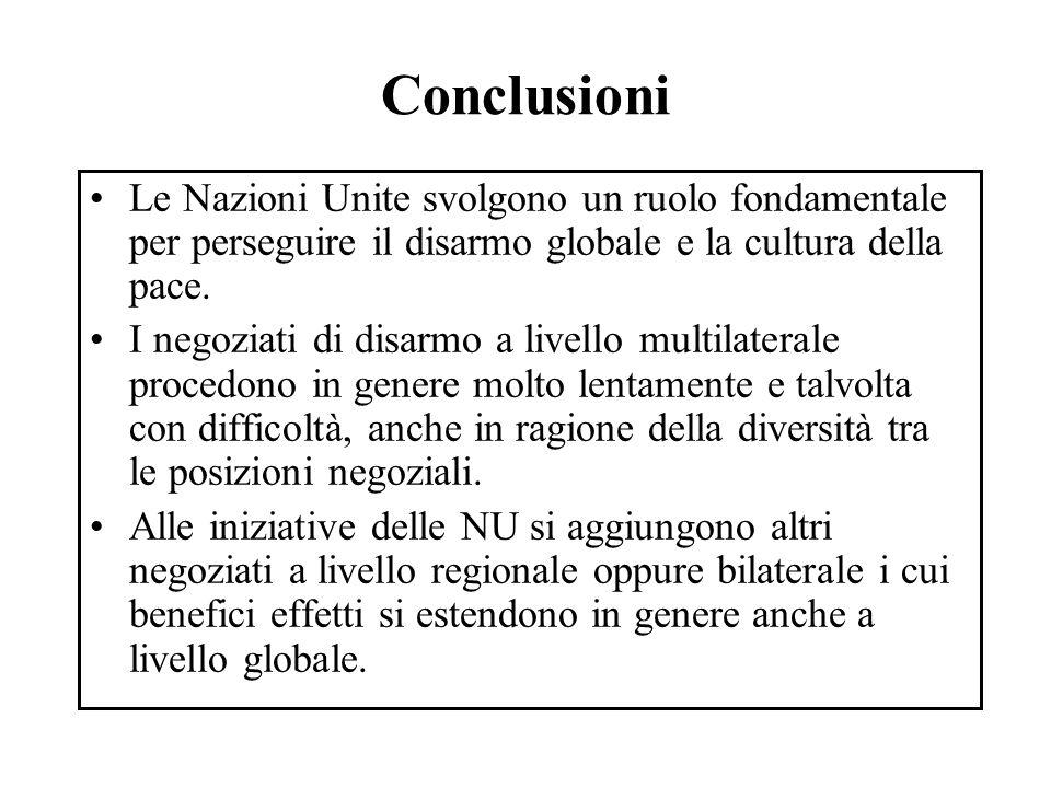 Conclusioni Le Nazioni Unite svolgono un ruolo fondamentale per perseguire il disarmo globale e la cultura della pace.