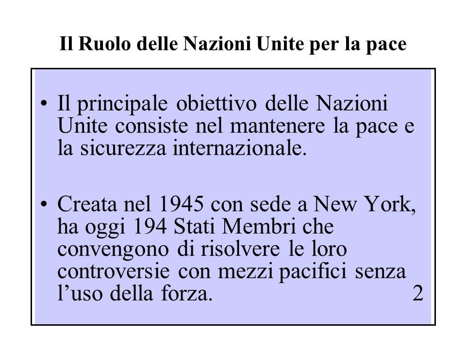 Il Ruolo delle Nazioni Unite per la pace